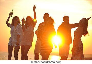 ludzie, partia, plaża, lato, grupa, cieszyć się, młody