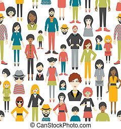 ludzie, pattern., płaski, figury., seamless, tło.