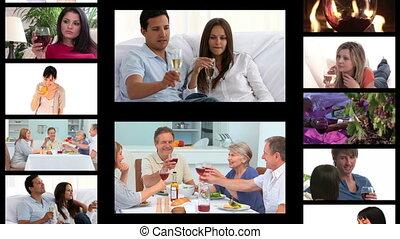 ludzie, picie, montaż, wino