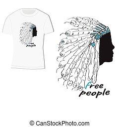 ludzie, pierze, t-shirt, indianin, projektować, label-free, fryzura