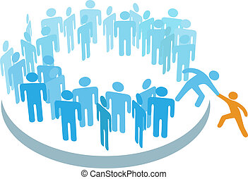 ludzie, pomoc, nowy, członek, wstąpić, duża grupa
