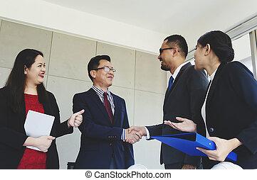 ludzie, powitanie, grupa, handlowy, deal., uzgodnienie