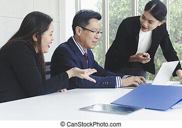 ludzie, pracujący, biuro., handlowy, nowy, projekt, startup, grupa