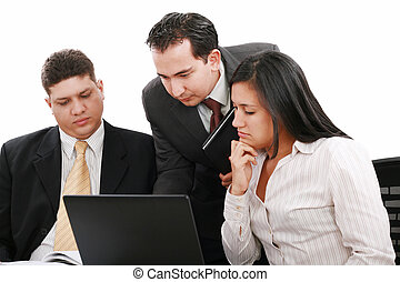 ludzie, pracujący, handlowe biuro, drużyna