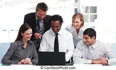 ludzie, pracujący, handlowe biuro