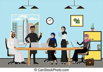 ludzie, pracujący, handlowy, nowoczesny, biuro, rysunek, arabszczyzna