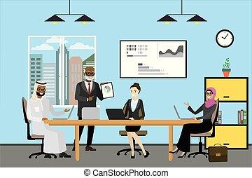 ludzie, pracujący, handlowy, nowoczesny, biuro, rysunek, multicultural