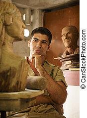 ludzie, pracujący, szczęśliwy, artysta, sztuka, drewno, rzeźbiarstwo, w, warsztat
