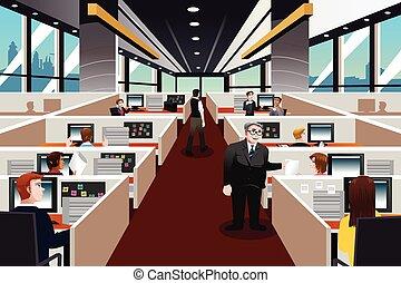 ludzie, pracujący, w, biuro