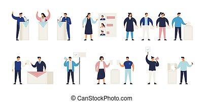 ludzie, proces, wybór, wybierając, głosowanie, agitators., kandydat, set., polityczny, politycy, stacja, balotowania, isometric, plik, część, kładzenie, debata, boks, illustration., wpływy, wektor, głosowanie, albo
