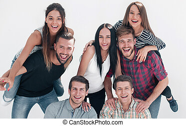 ludzie, radosny, grupa, obiecujący, młody