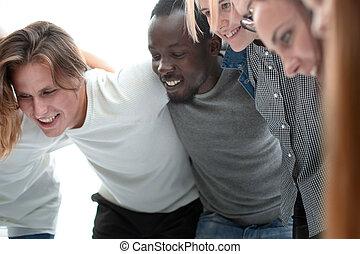 ludzie, radosny, grupa razem, reputacja, młody