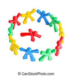 ludzie, radosny, mały, rozmaity, plastelina, koło