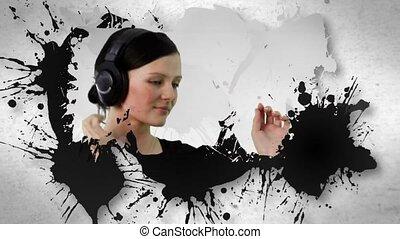 ludzie, słuchający, ożywienie, muzyka