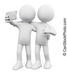 ludzie., selfie, biały, przyjaciel, 3d