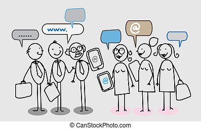 ludzie, sieć, handlowy, towarzyski