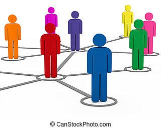 ludzie, sieć, komunikacja, towarzyski, 3d
