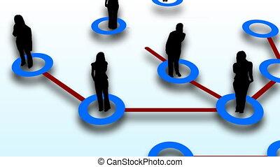ludzie, sieć, połączenie