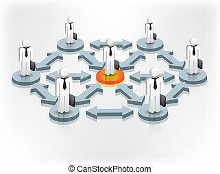 ludzie, sieć, towarzyski