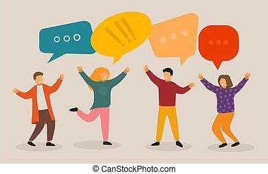 ludzie, speaking., faktyczny, grupa, concept., młody, gaworząc, litery, komunikacja, template., towarzyski, sieć