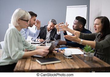 ludzie, spotkanie, handlowy, argumentując
