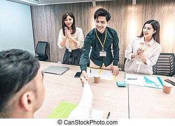 ludzie, spotkanie pokój, konferencja, handlowy