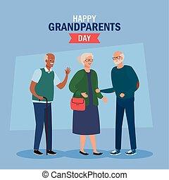 ludzie, sprytny, starszy, rodzice, dzień, wielki, szczęśliwy