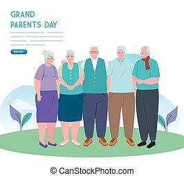 ludzie, stary, rodzice, dzień, szczęśliwy, na wolnym ...
