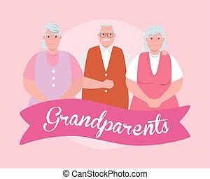 ludzie, stary, rodzice, dzień, szczęśliwy, sprytny, wielki