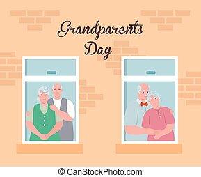 ludzie, stary, rodzice, oglądając, dzień, szczęśliwy, ...
