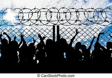 ludzie, sylwetka, refugees