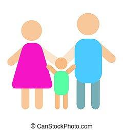 ludzie, sylwetka, szczęśliwa rodzina, rysunek, i, związek, litery, styl życia, wektor, ilustracja