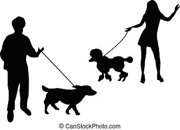 ludzie, sylwetka, z, pies