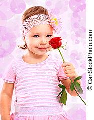 ludzie, szczęście, concept., szczęśliwy, mała dziewczyna, z, róża, w, różowy, odzież