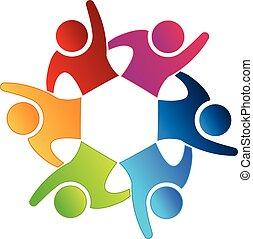 ludzie, szczęśliwy, teamwork, logo, ikona