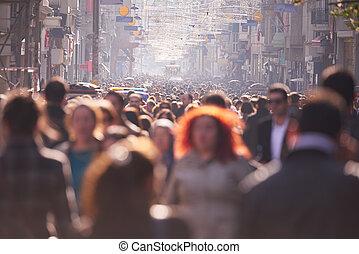 ludzie, tłum, pieszy, na, ulica