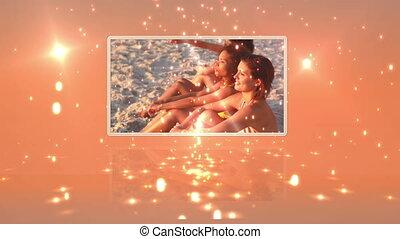 ludzie, taniec, młody, plaża