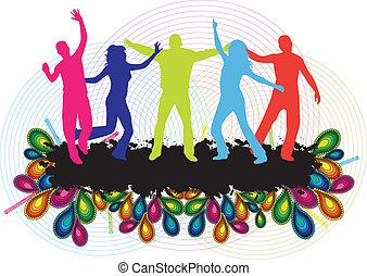 ludzie, taniec, -, młody, tło, partia