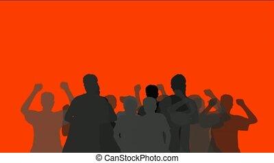 ludzie, taniec, tłum, doping