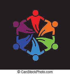 ludzie, teamwork, 6, projektować, przyjaciele, ikona