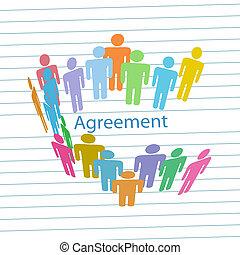 ludzie, towarzystwo, porozumienie, kontrakt, zgoda, spotykać