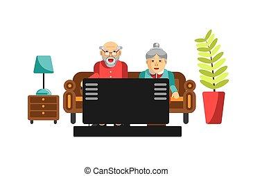 ludzie, tv oglądający, sofa., starszy, dziadek, babcia