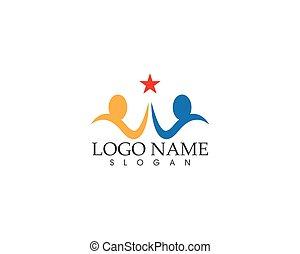 ludzie, wektor, logo, projektować, powodzenie