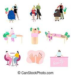 ludzie, wektor, rysunek, piękno, komplet, ilustracja, płaski, odwiedzając, style., zdrój, treatment., wpływy, salon