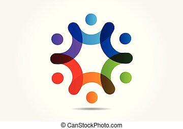 ludzie, wektor, teamwork, dzierżawa wręcza, logo