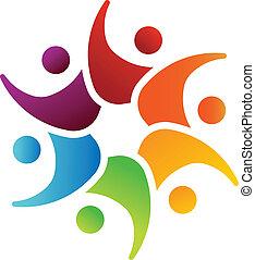 ludzie, wizerunek, drużyna, 6, logo, szczęśliwy