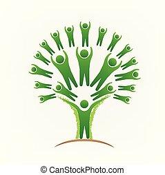 ludzie, wizerunek, drzewo, wektor, teamwork, logo