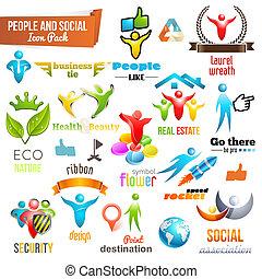 ludzie, współposiadanie, symbol, towarzyski, ikona, opakujcie, 3d
