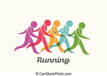 ludzie, wyścigi, wektor, logo, activity., sport