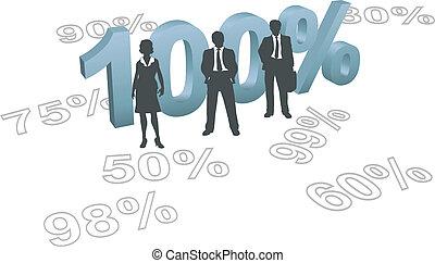 ludzie, wysiłek, cent, typować, 100, jakość, na